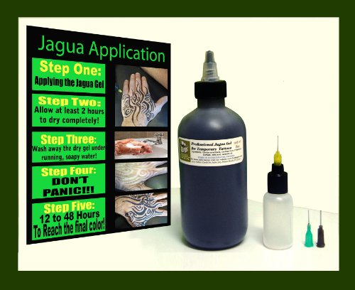Fresh Jagua Tattoo Gel 8oz (236.58ml) + Applicator Bottle and 3 of the Most Used Applicator Needle Cones***top Grade Professional . Made in U.s.a Ready to Use! No Mixing Necessary -  Ataraxia Creative Hand's INC.