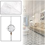 Kangkang@ Crystal Glass Beaded Tassel String Curtains Door Window Home Decor Sheer Curtain For Living Room Divider Rideaux Pour Le Salon (white)