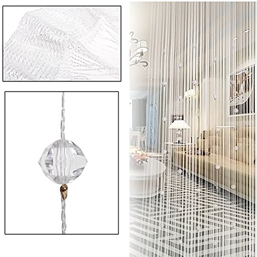 Glass Beaded Curtain - Kangkang@ Crystal Glass Beaded Tassel String Curtains Door Window Home Decor Sheer Curtain For Living Room Divider Rideaux Pour Le Salon (white)