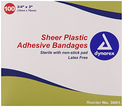 Dynarex Adhesive Sheer Strips Bandage, Sterile, 3/4 Inches X 3 Inches, 100 Count (Pack of 4) ()