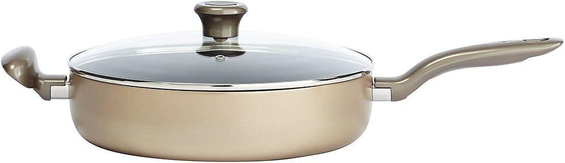 T-fal C06782 Metallics Oven Safe Nonstick Dishwasher Safe PFOA Free Jumbo cooker with Glass Lid, 5-Quart Cookware, Bronze