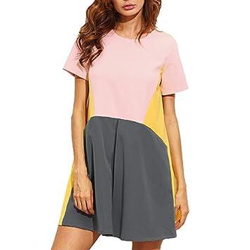 Vestido casual para mujer – Saihui Color Block Patchwork manga corta cuello redondo Bodycon Swing túnica