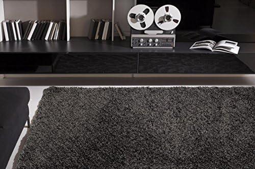 Persian-Rugs 087 Manhattan Plain Shag Gray D.Gray 5 x 7 Area Rug Carpet Large New