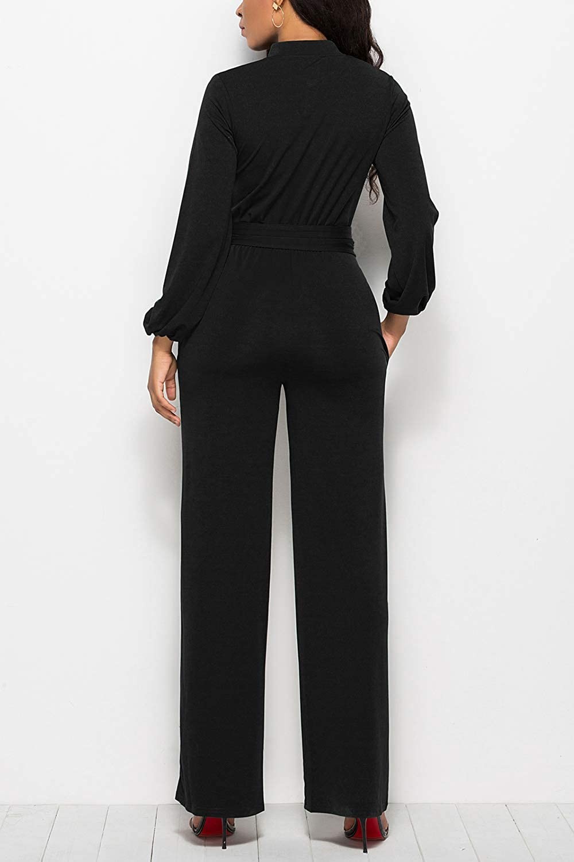 Fasumava Womens Jumpsuit Spring Autumn Elegant Plus Size Button Belted Romper