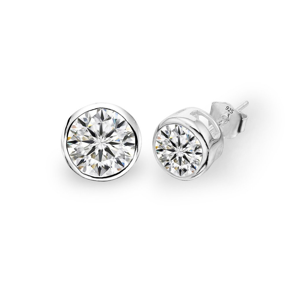 EVER FAITH 925 Sterling Silver Round Cut CZ Simple 6MM Basket Set Stud Earrings Clear