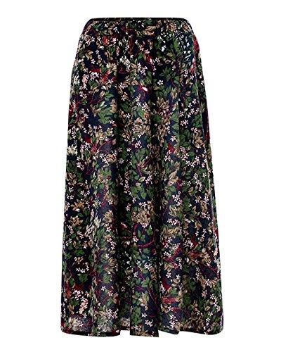 t Femmes Jupe Maxi Tour de Taille Elastique A-Line Casual Boho Chic Rtro Jupe Color 3