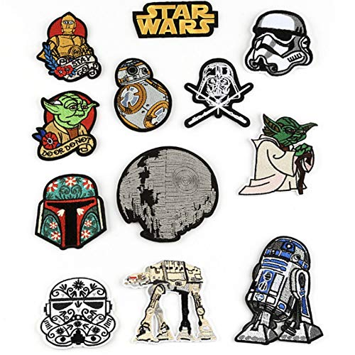 CheeseandU 12Pack DIY Star Wars Patch Hook Loop Embroidered Patches Applique Anime Embroidered Patches for Clothing Iron on Patches On Clothes Tactical Patch Military Badges Stripes