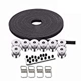 pulley belt - Kee pang 10M Rubber Opening Belt 6mm Width+8pcs GT2 Pulley 20 Teeth Bore 5mm +4pcs Belt Locking Spring for 3D printer