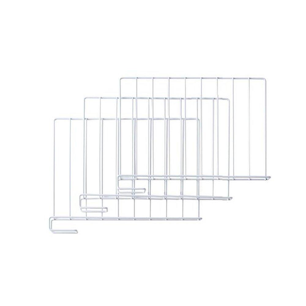Cozyhouse Set of 3 Iron Closet Dividers Shelf Divider Organizer Clothing Bags Separators for Wooden Closet 12.8(L) x 10.8(H) White