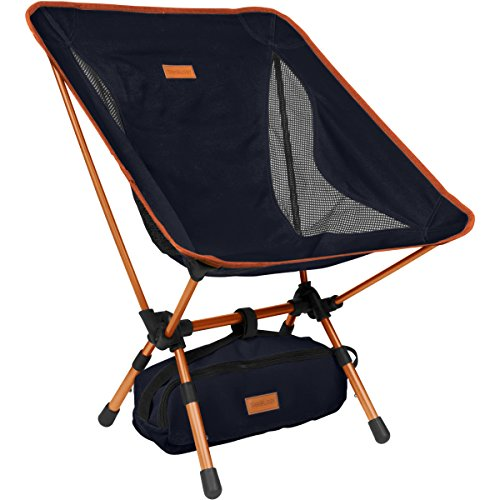 Trekology YIZI GO Portable Camping Chair with Adjustable Height - Compact Ultralight Folding Backpacking Chairs in a Carry Bag, Heavy Duty 300 lb Capacity, for Hiker, Camp, Beach, Outdoor (Beach Folding Mini Chair)