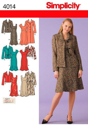 (Simplicity Karen Z Pattern 4014 Women's Unlined Coat, Jacket and Lined Dress Sizes 20W-28W)