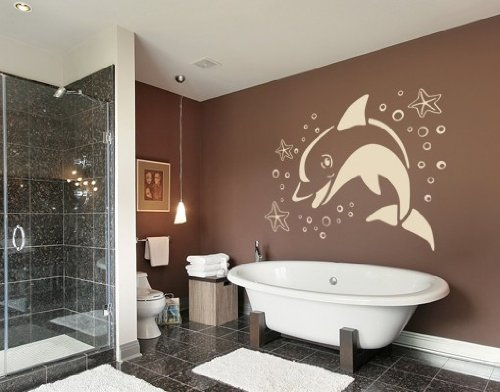 Jumping Dolphin with starfish Wall Decal by Style & Apply - Wall Sticker, Vinyl Wall Art, Home Decor, Wall Mural - 1875 - 16in x 11in, Beige