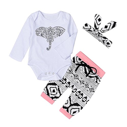 FEITONG Baby Elephant Print Long Sleeve Romper + Geometric Pattern Trousers + Headband 3pcs Set (Purse Doll Clothes)
