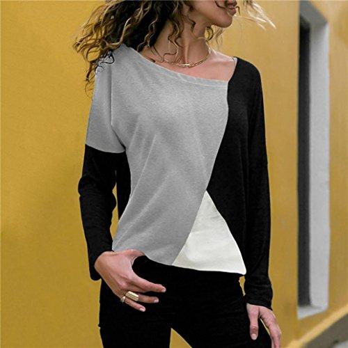 Lenfesh Cou Femmes Manche Haut DContractE O Shirt Couleur Bloc De Taille T Noir Blouse Longue Grande Mode g0XxRg