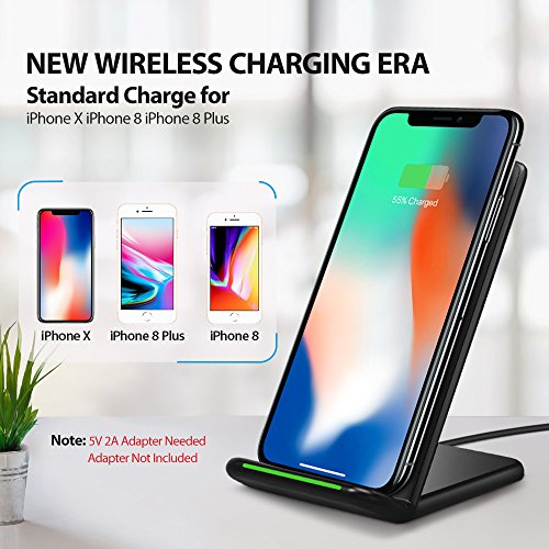 iPhone X Wireless Charger, ELLESYE 3-Coil Qi Wireless Charger Stand for iPhone X, iPhone 8/8 Plus, Galaxy Note 9/S9/S9 Plus/Note8/S8/S8 Plus/S7/S7 Edge/S6 Edge Plus, LG G6 and All QI-Enabled Devices by ELLESYE (Image #1)
