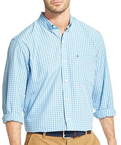 IZOD Men's Breeze Button Down Long Sleeve Plaid Shirt, Clear air X-Large