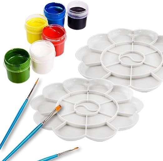 Art Color Palette for Children /& Students 6 Pack Large +6 Pack Small. Color Palette Heatoe 12 Pcs Professional Art Paint Palette