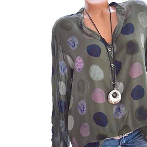 [S-5XL] レディース Tシャツ ドット プリント ボタン シャツ 長袖 トップス おしゃれ ゆったり カジュアル 人気 高品質 快適 薄手 ホット製品 通勤 通学