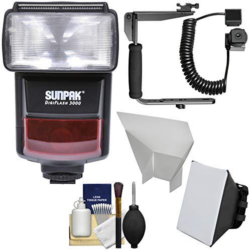 Sunpak DigiFlash 3000 iTTL Electronic Flash Unit with Bracket & Cord + Soft Box + Bounce Reflector + Cleaning Kit for Nikon Digital SLR Camera