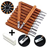 12 Set SK2 Carbon Steel Wood Carving Tools, Crafting Chisel Tools with Storage Case & Graver Whetstones for Kids Adults Beginners Professionals