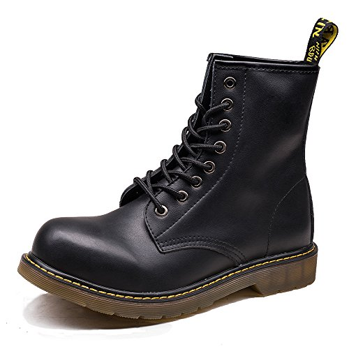 OUOUVALLEY Men's Lace-Up Genuine Leather Waterproof Combat Boots (US8.5(CN42=260CM), (Black Boots For Men)