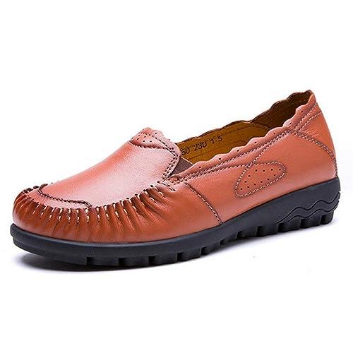 Pisos De Las Mujeres Zapatos Casuales Mocasines De Cuero Coser Madre Barco Slip-On Zapato úNico Mocasines Calzado: Amazon.es: Zapatos y complementos