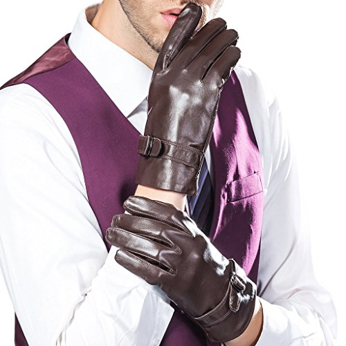 CASF Men's Driving Genuine Lambskin Leather Gloves For Me...