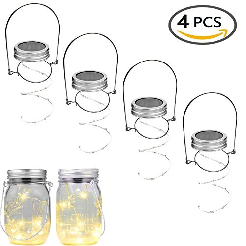 Merryjump 4 Waterproof Mason Jar String Light Lids & 4 Stainless Steel Wire Handles,Warm white Solar Lights, for a regular mouth Mason Jar Decor,Patio Garden Path Lights (Jar Not Included)