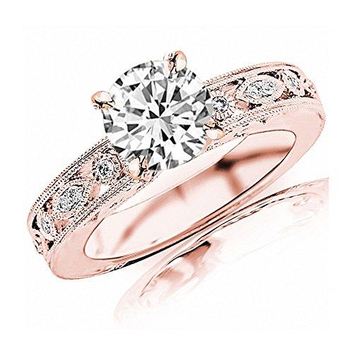 1.25 Carat 14K Rose Gold Antique/Vintage Bezel Set Designer GIA Certified Round Cut Diamond Engagement Ring With Milgrain (1 Ct D Color VS1 Clarity Center Stone) ()