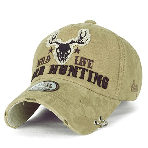 ililily Wild Life Deer Hunting Embroidery Metal Piercing Ring Cotton Baseball Cap Trucker Hat, Khaki by ililily