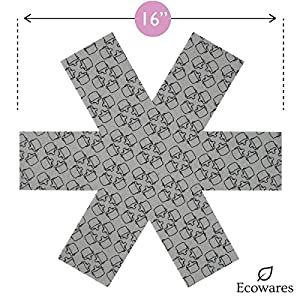 Pot Pan Bowl Protectors by Ecowares - Set of 6 - Large 16 Inches Wide - Gray Print - Premium Divider Pads to Prevent Scratching, Separate and Protect Surfaces of Your Cookware
