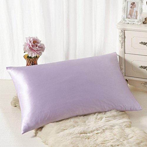 Voberry Silk Pillowcase for Hair and Skin with Hidden Zipper, 11 Colors (Purple)