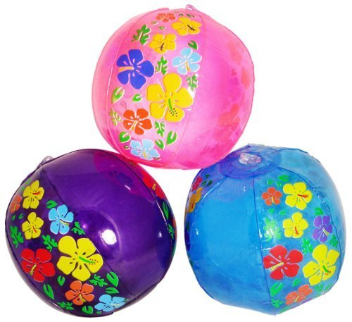 Mini Hibiscus Print Beach Balls (1 dz) [Toy]