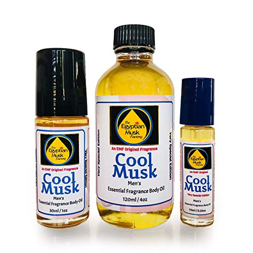 The Egyptian Musk Factory by WagsMarket - Cool Musk Perfume Oil for Men, Essential Oil Infused Egyptian Musk Oil, Choose from 0.33oz Roll On to 4oz Glass Bottle (0.5oz Glass Bottle (1oz Roll On)