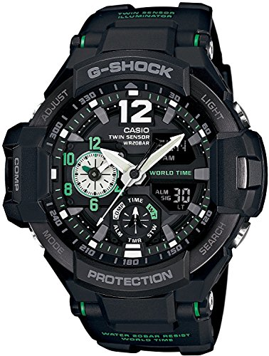 CASIO Watch G-Shock Sky COCPIT Sky Cockpit GA-1100-1A3 Black ~ Green Men's Parallel Import Goods]