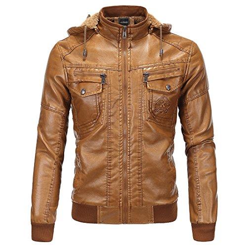 Leather Jacket,Mens Biker Jackets Vintage Leather Hoodie Zip Moto Hoody Casual Removable Hood Jackets (4xl)