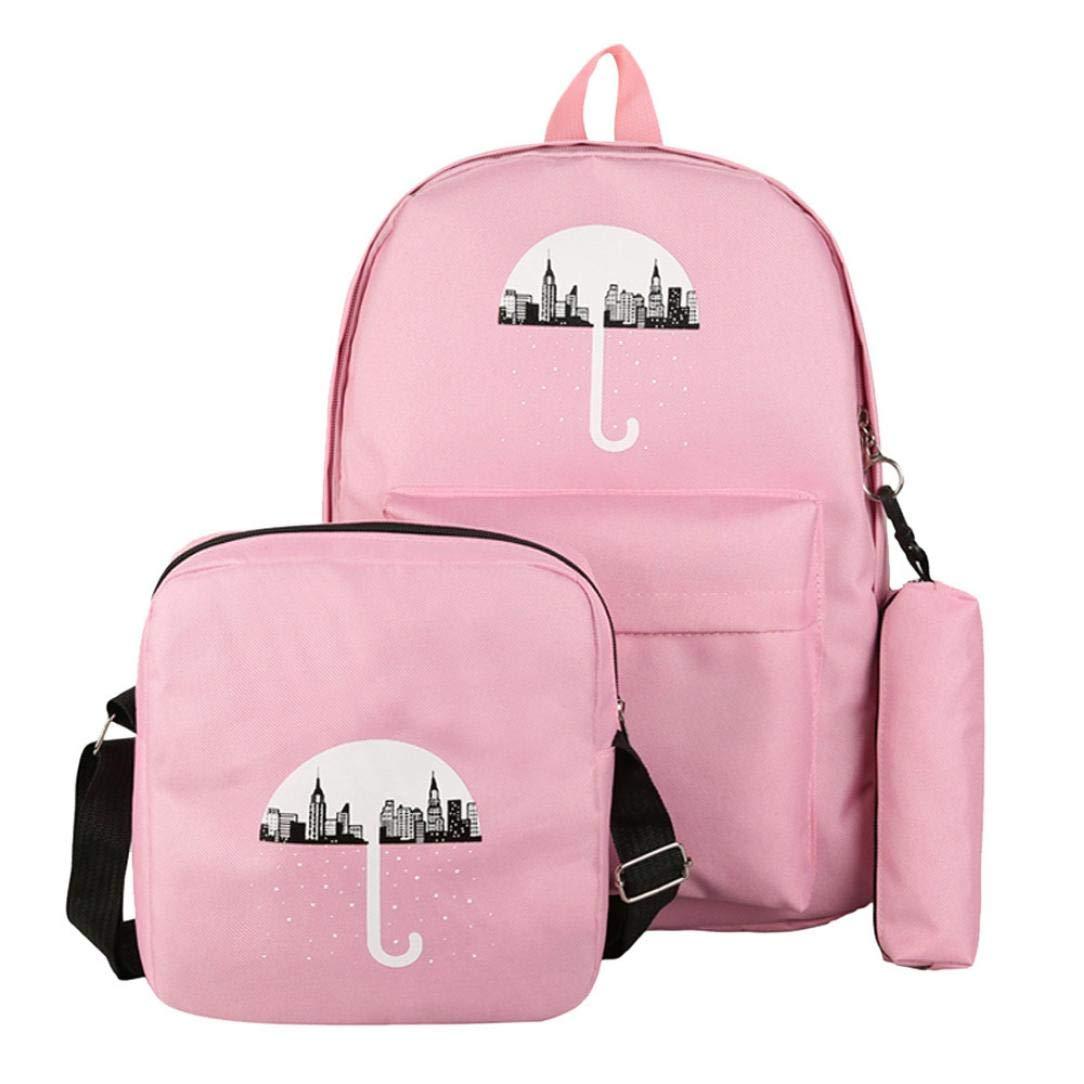 BCDshop Women Girl Large Canvas Schoolbag Bookbag Backpacks+Crossbody Bag+Pen Bag (Pink)