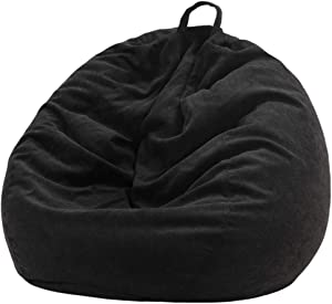 Nobildonna Stuffed Storage Bird's Nest Bean Bag Chair (No Filler) for Kids and Adults. Extra Large Beanbag Cover Stuffed Animal Storage or Memory Foam Soft Premium Corduroy Covers (Black)