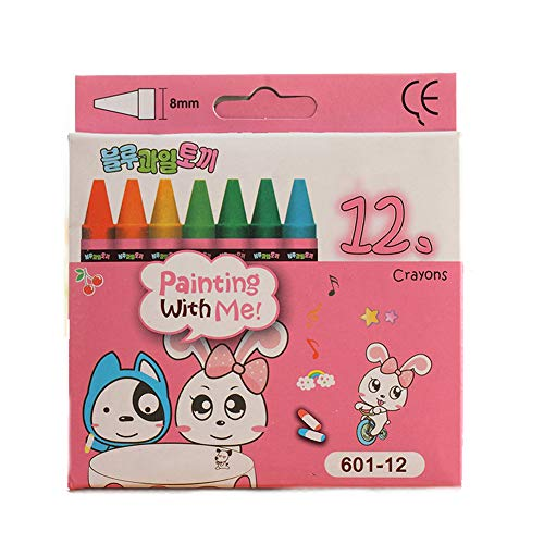 Romote 1 Set Kids Wax Crayons Painting Supplies Safe Wax Pencils with Pink Box 12 Colors