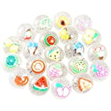 Pllieay 24 Pieces Clear Bouncy Balls Fruit Mini Rubber Bouncing Ball for Party Favor, Class Activities and Kids Playtime