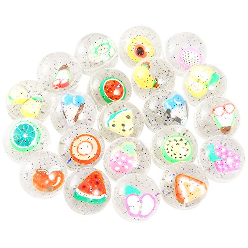 Pllieay 24 Pieces Clear Bouncy Balls Fruit Mini Rubber Bouncing Ball for Party Favor, Class Activities and Kids Playtime (Piece Balls 24)