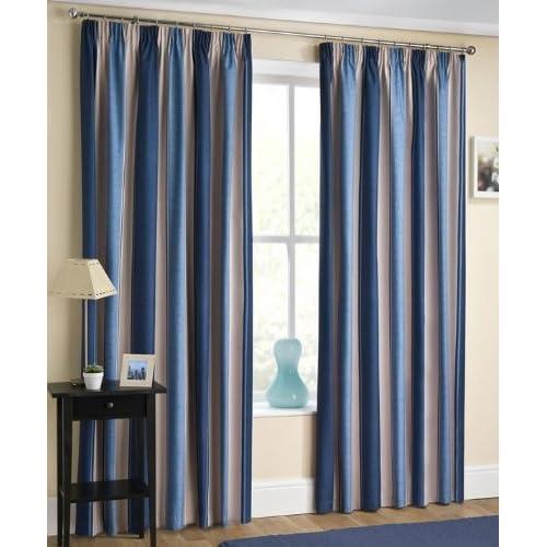 Blue Striped Curtains Amazon Co Uk