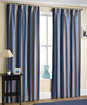 Curtains Ideas blackout striped curtains : TWILIGHT STRIPED PRINT TWO-TONE NAVY BLUE / NATURAL / CREAM 46