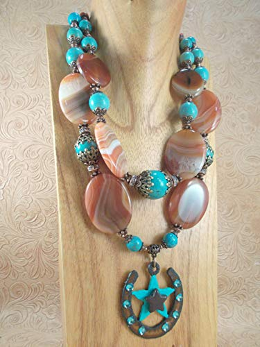 Western Cowgirl Necklace Set - Orange Brown Agate - Turquoise Howlite - Horseshoe ()