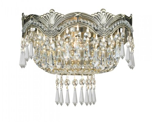 Crystorama 1480-HB-CL-SAQ Crystal Two Light Sconces from Majestic collection in Brassfinish, 6.00 (Majestic 2 Light Sconce)