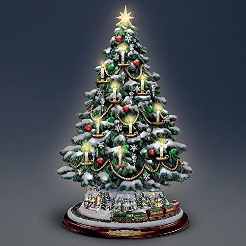Thomas Kinkade Candlelit Tabletop Tree with Lights and Music and Rotating Train by The Bradford Exchange by Bradford Exchange (Image #4)
