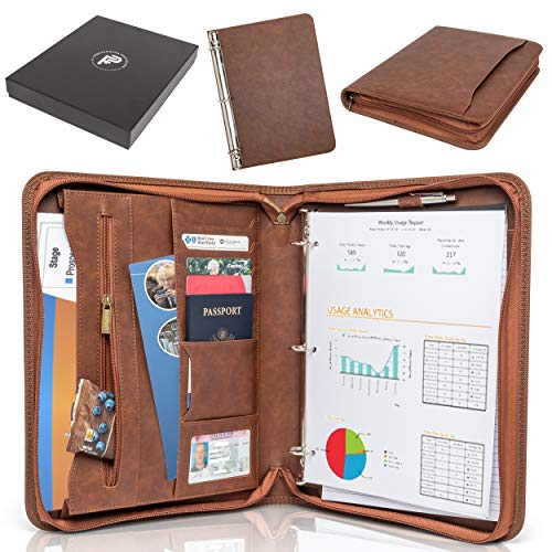 Forevermore Portfolio Padfolio with Zippered Closure, Removable 3 Ring Binder & Bonus Letter Size Writing Pad/Interview & Resume Document Organizer/Notebook & Business Card Holder, ()