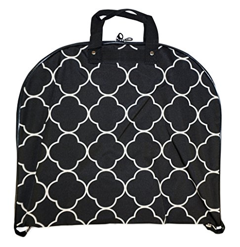 Bi Fold Garment Bag (Ever Moda Hanging Garment Bag, Black Quatrefoil Moroccan (40-inch))
