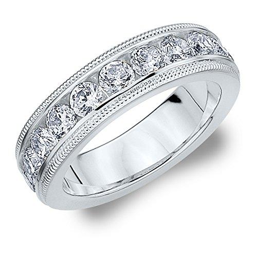 18K White Gold Diamond Milgrain Wedding Band (1.5 cttw, F-G Color, VS1-VS2 Clarity) Size 5.5 Milgrain Diamond Eternity Band