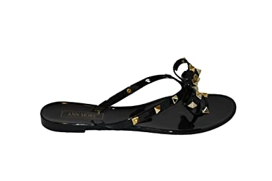 1e53df770674 Star s Kloset Women s Studded Bow Jelly Thong Flat Sandals (6